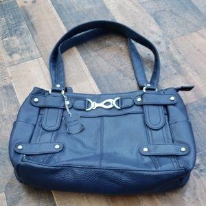 Genuine Leather Blue Purse